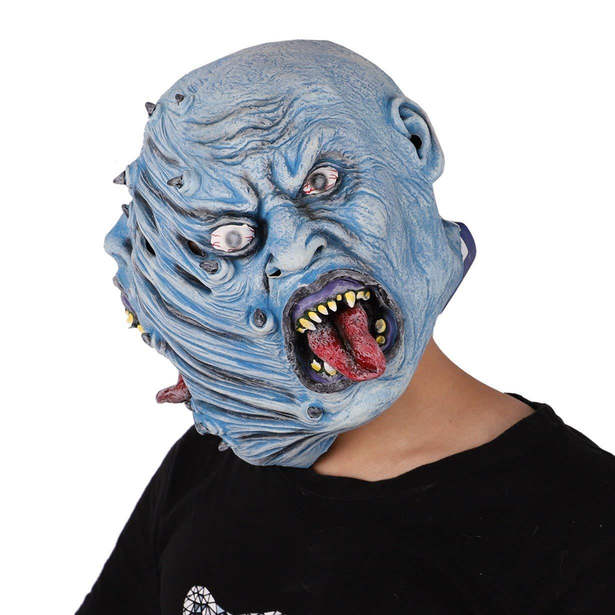 Máscara de monstruo azul deforme