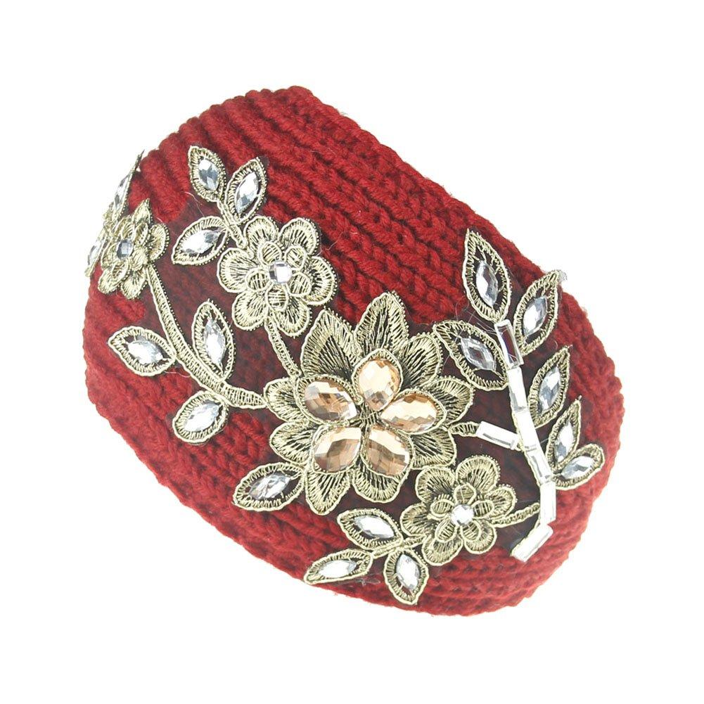 TININNA Mode Serre-tête Bande de Cheveux Laine Tricoté Fleur d'or Turban Elastique Couvre-Oreille Head Wrap Chapeaux pour Femme Fille Beige