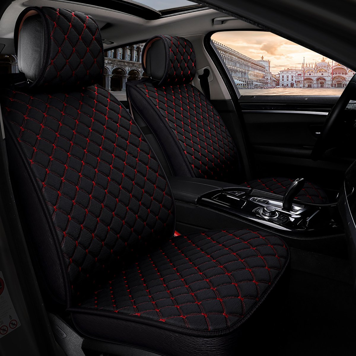 INCH EMPIRE Anti Slip Car Seat Cover Full Set Cloth Universal Fit Front and Back Breathable Dirty Proof Fabric Cushion-Adjustable Bench for 95% Types of 5 Seats Cars(Black with Red Stitch Grid)
