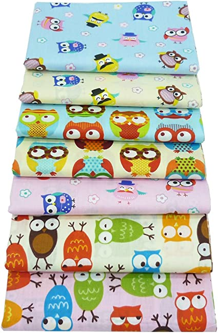 18x22 iNee Cute Owl Fat Quarters Fabric Bundle Sewing Quilting Fabric