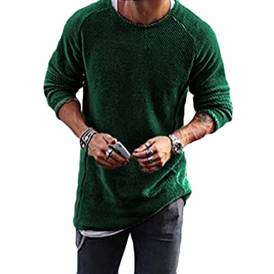 Domple Men Plus Size Long Sleeve Turtle Neck Solid Knit Sweater Pullover