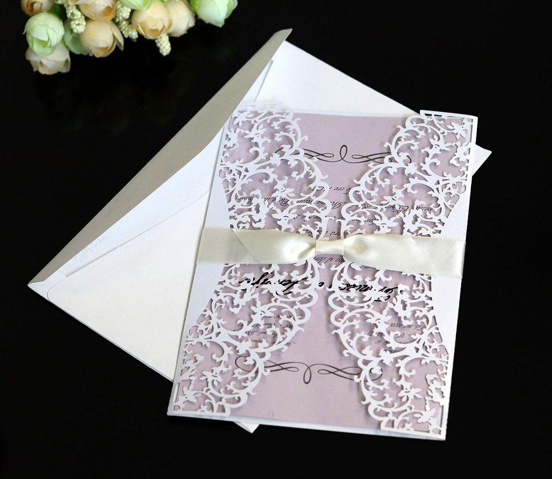 50 tarjetas de invitación cortadas con láser con sobres, tarjetas de invitación de boda, kit con sobres impresos para novia, baby shower, ...