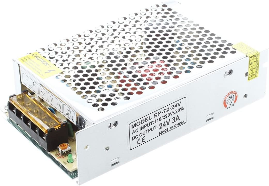 Andifany AC 110//220V 24VDC 3A 72W Potencia Alimentacion Transformador por LED Flexible Tira Lampara