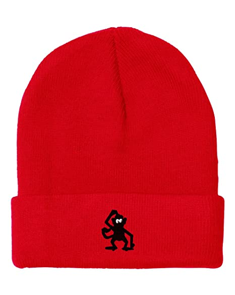 b7c2e42db31 Confused Monkey Embroidered Unisex Adult Acrylic Beanie Winter Hat - Red