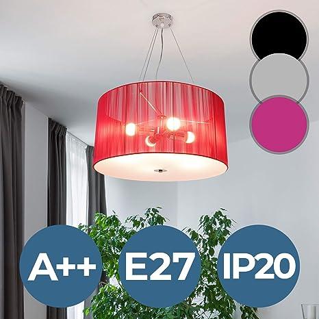 Lámpara de Tela | Ø 50cm, 4xE27, A++, Colores a Elegir, Retro | Lámpara Colgante Techo Plafón, Luz de Techo, Iluminación de Interior | para Sala de ...