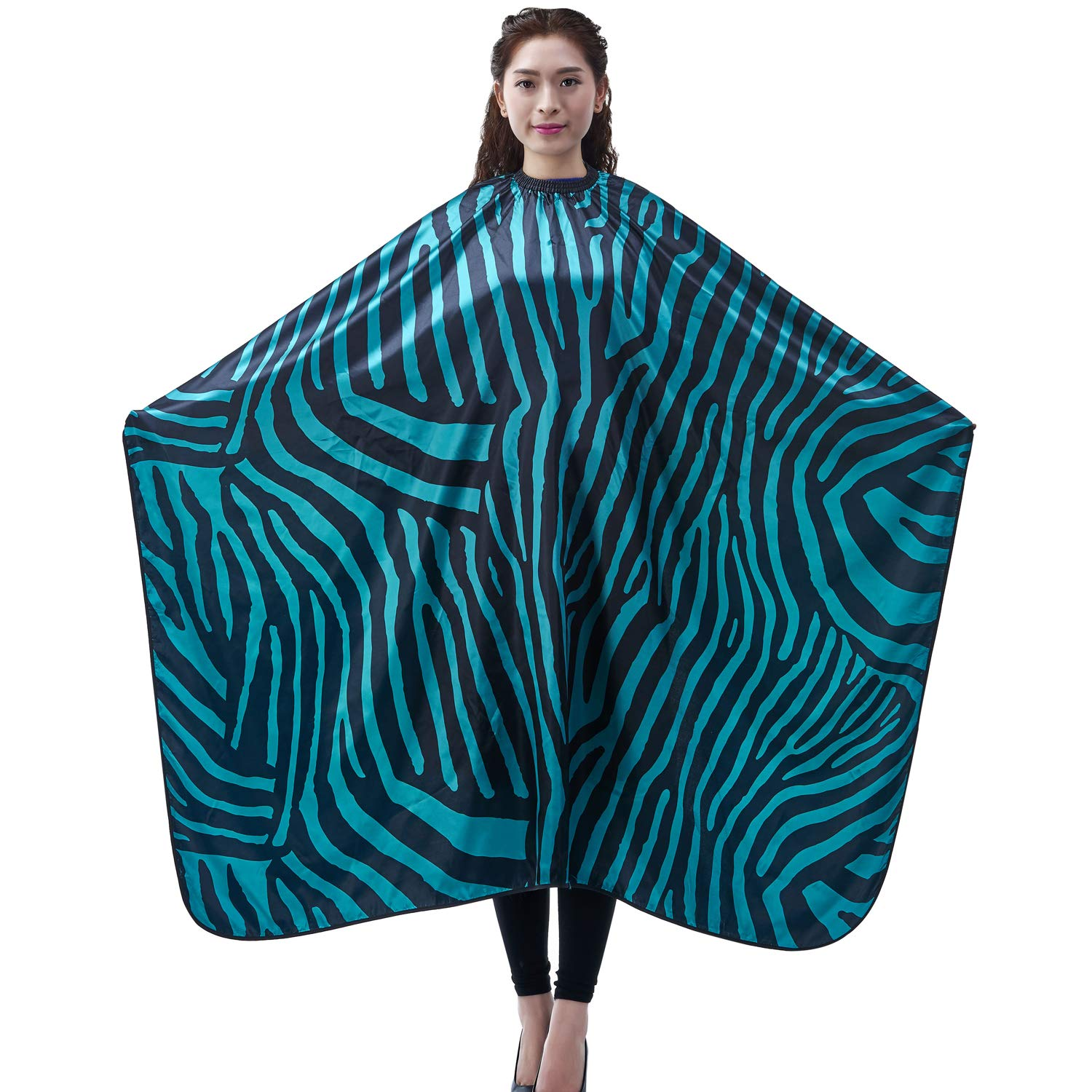 Salon Professional Hair Styling Cape, Colorfulife Adult Hair Cutting Coloring Styling Waterproof Cape Satin Hairdresser Wai Cloth Barber Gown Home Camps & Hairdressing Wrap Zebra Pattern Capes K007 (Green) by Colorfulife anglovesmile