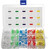 Elfeland 750pcsx3mm LED Light Emitting Diodes Round Assorted Color 2pin Diffused LED Electronic Parts White Red Yellow Blue Green Box Kit (5 colors x 150pcs) Diy Decorate Lights