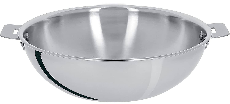 Cristel Wokt24q stainless steel wok, diam. 24cm, 30.2cm x 24cm x 7.8cm