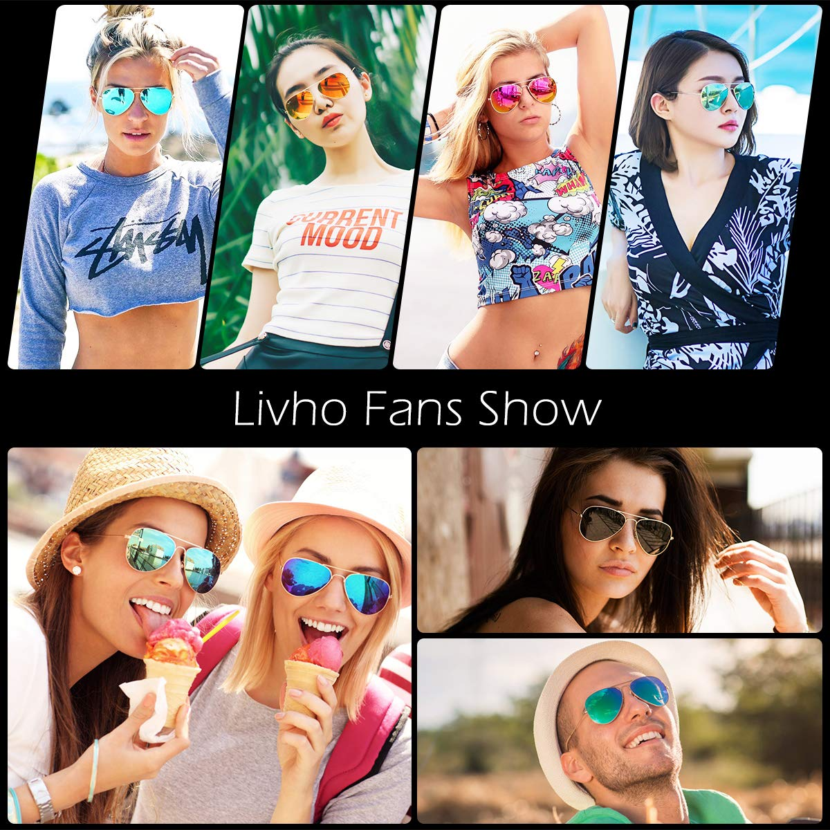 Livhò Sunglasses for Men Women Aviator Polarized Metal Mirror UV 400 Lens Protection (Gold Grey+Blue Green) by Livhò (Image #6)