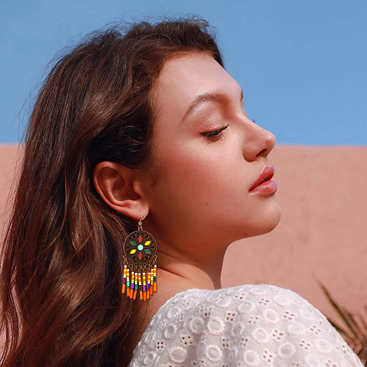 Mother\u2019s Day gift blue and amber dangle drop earrings multicolor Czech glass colorful earrings small minimalist everyday earrings
