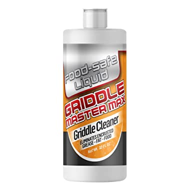 Griddle Master Max - 32oz - Food-Safe Liquid Griddle Cleaner - Powerful Grill Griddle Cleaner Eliminates Tough Encrusted Grease - Just Apply and Heat Griddle and Griddle Cleaner Solution Goes to Work