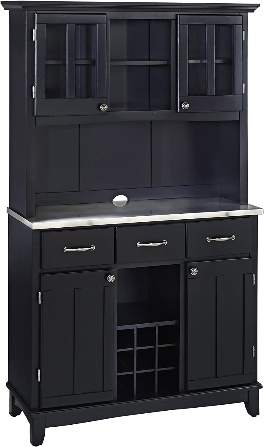 Home Styles Buffet of Buffets Stainless Steel Top Buffet with Hutch, Black Finish, 41-3/4-Inch