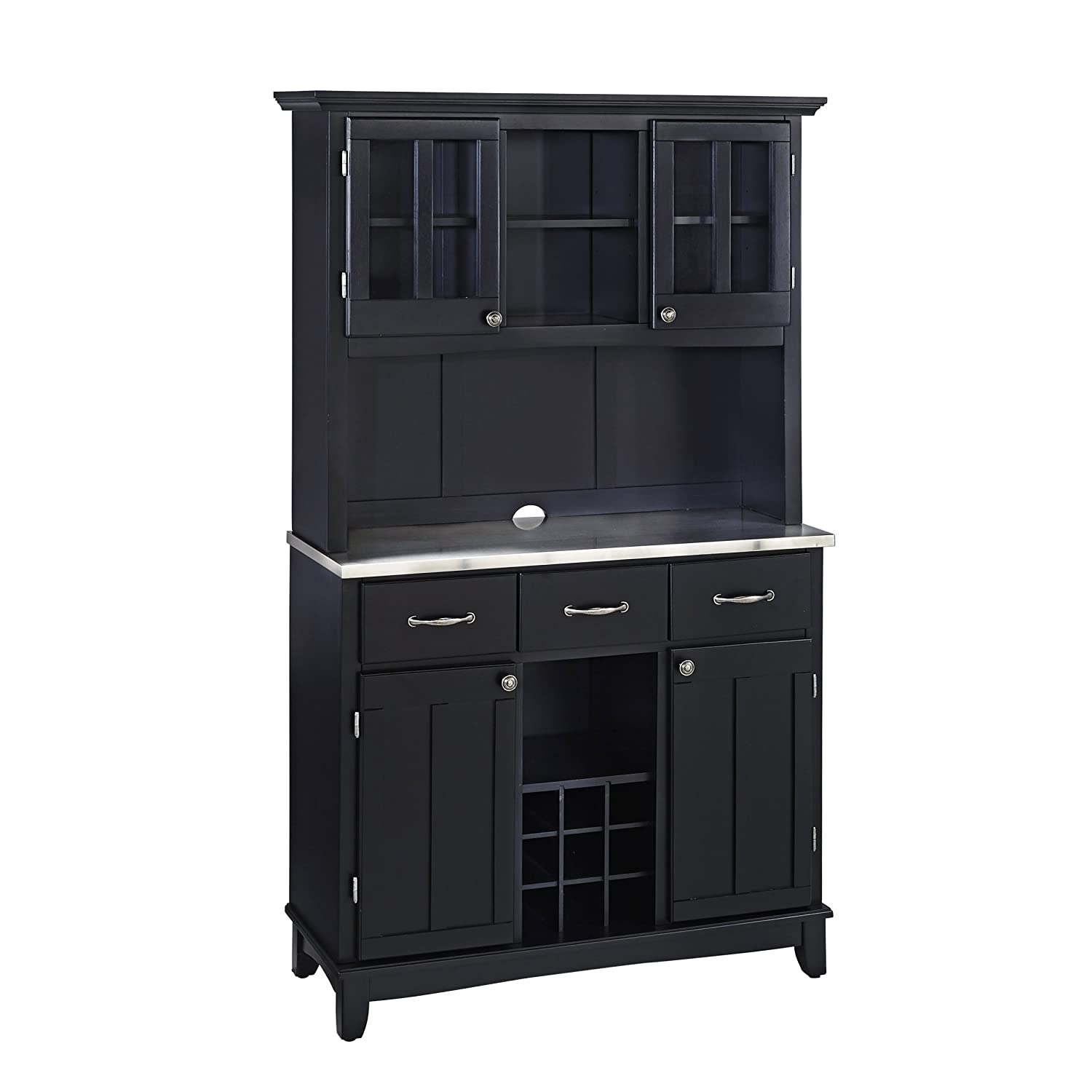 Amazon.com   Home Styles 5100 0043 42 Buffet Of Buffets Stainless Steel Top  Buffet With Hutch, Black Finish, 41 3/4 Inch   Buffets U0026 Sideboards