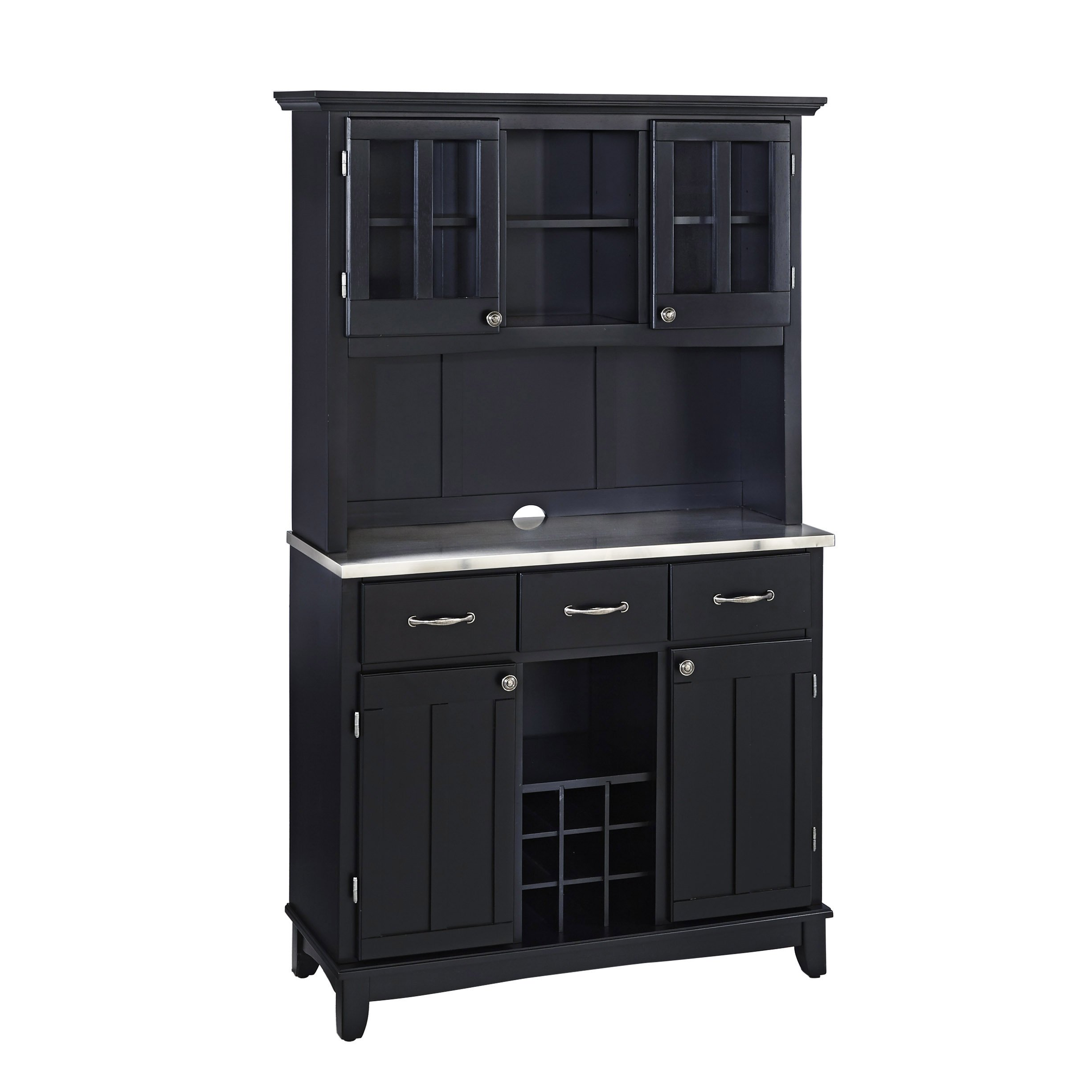 Home Styles 5100-0043-42 Buffet of Buffets Stainless Steel Top Buffet with Hutch, Black Finish, 41-3/4-Inch