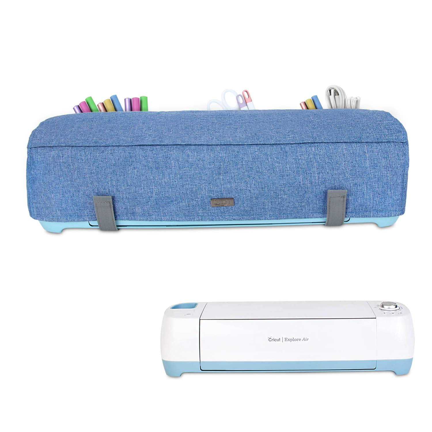Dust Cover with Back Pockets for Accessories Luxja Dust Cover Compatible with Cricut Explore Air and Explore Air 2 Green