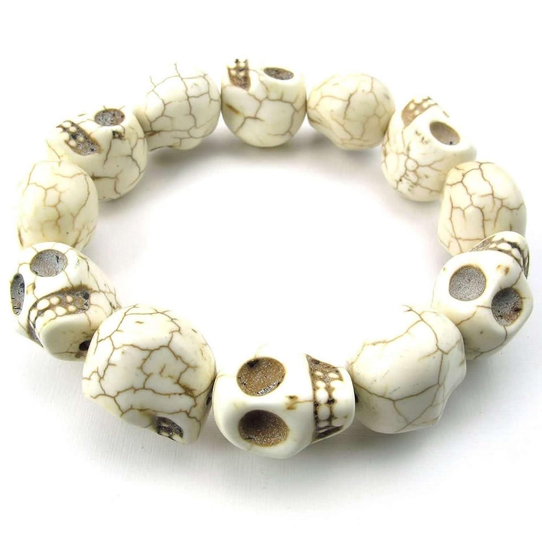 ANAZOZ Skull White Beaded Turquoise Bracelet Tibetan Howlite Mens Jewelry