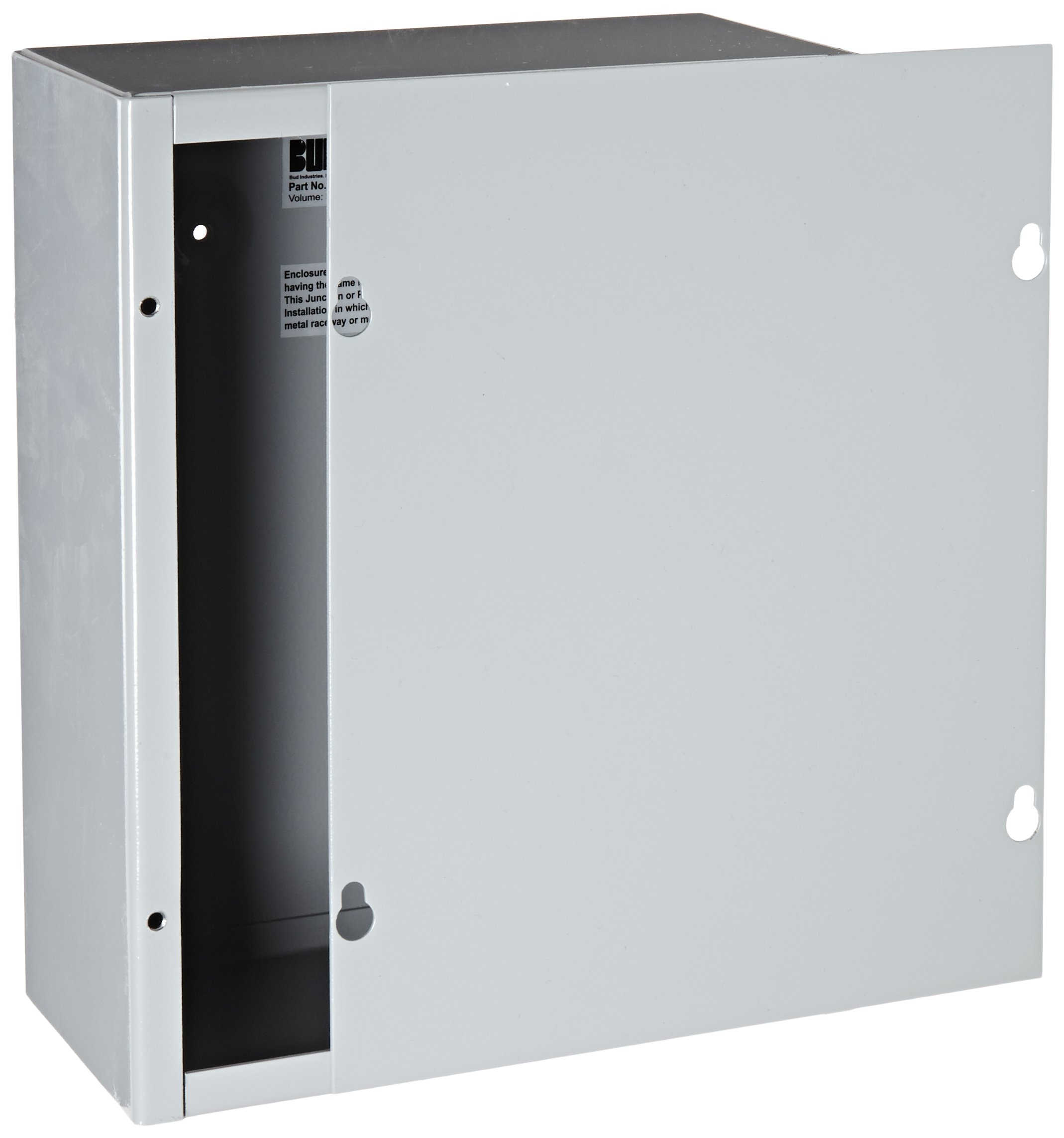 BUD Industries JB-3958 Steel NEMA 1 Sheet Metal Junction Box with Lift-off Screw Cover, 8'' Width x 10'' Height x 4'' Depth, Gray Finish