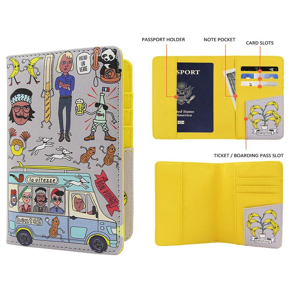 Hanerdun Cute Passport Holder Fun Passport Wallet Personalized Passport Cover WAT-1006/_BLUE