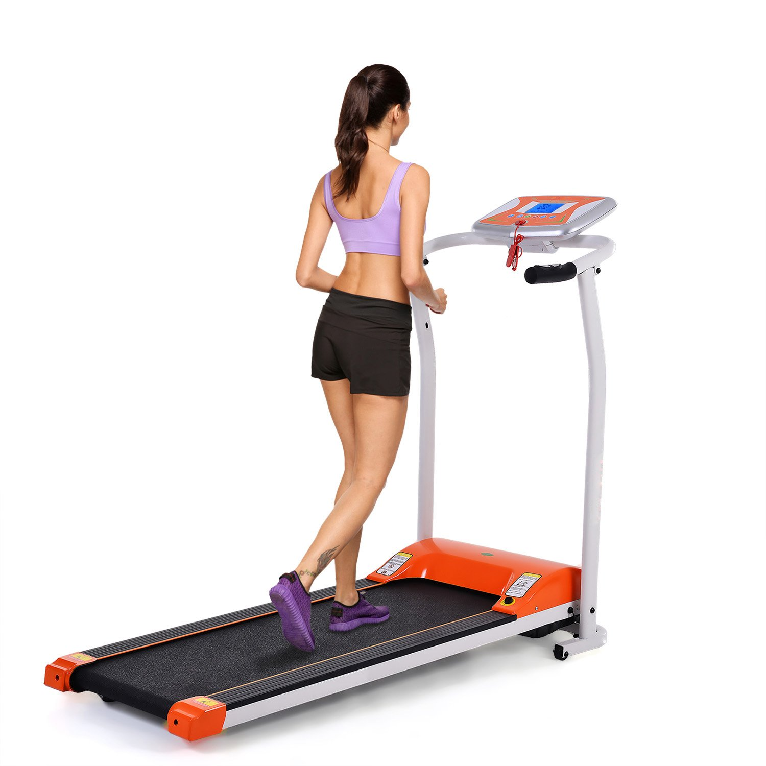 Yiilove Folding Treadmill Electric Motorized Power Fitness Running Machine for Home & Gym(US Stock) (1.5 HP - Orange)