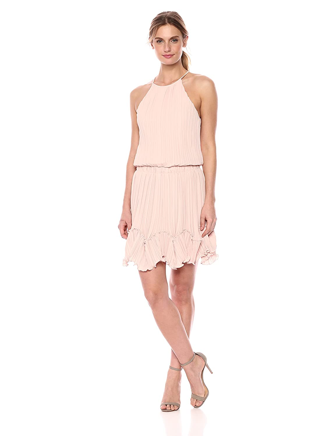 Bloom Halston Heritage Womens Sleeveless Round Neck Dress with Pleated Flounce Cocktail Dress