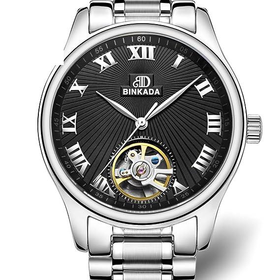 Relojes mecánicos de los hombres/Ahuecar reloj de volante/Resistente simple hombre al agua reloj-D: Amazon.es: Relojes