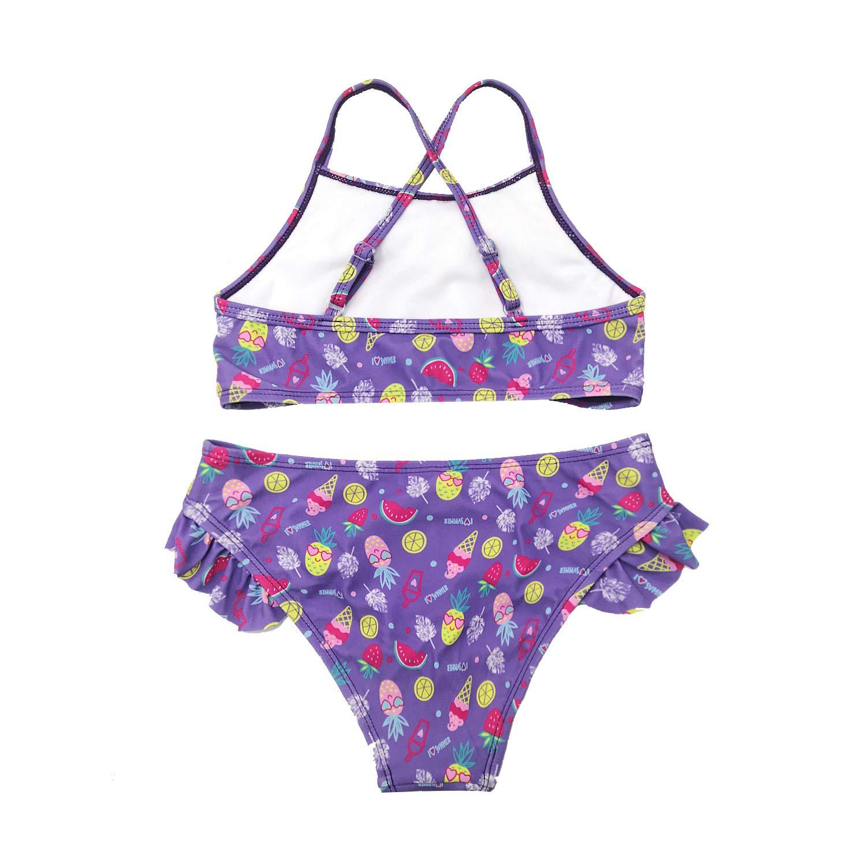 SHEKINI Costumi da Bagno Bambina Due Pezzi a Balze Regolabile Tracolla Croce Carino Stampato Floreale Bikini Belle Ragazze Swimwear del Bambini Stile Frills Costume Ragazza