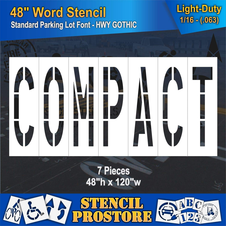Pavement Marking Stencils - 48 inch Compact Stencil - 48'' x 122'' x 1/16'' (63 mil) - Light-Duty