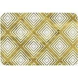 WEIANG黒と白の幾何学的な金色の玄関マット床マット厚い滑り止めフランネルスポンジ吸収性屋内ドアマット40x60cm(12,40x60)