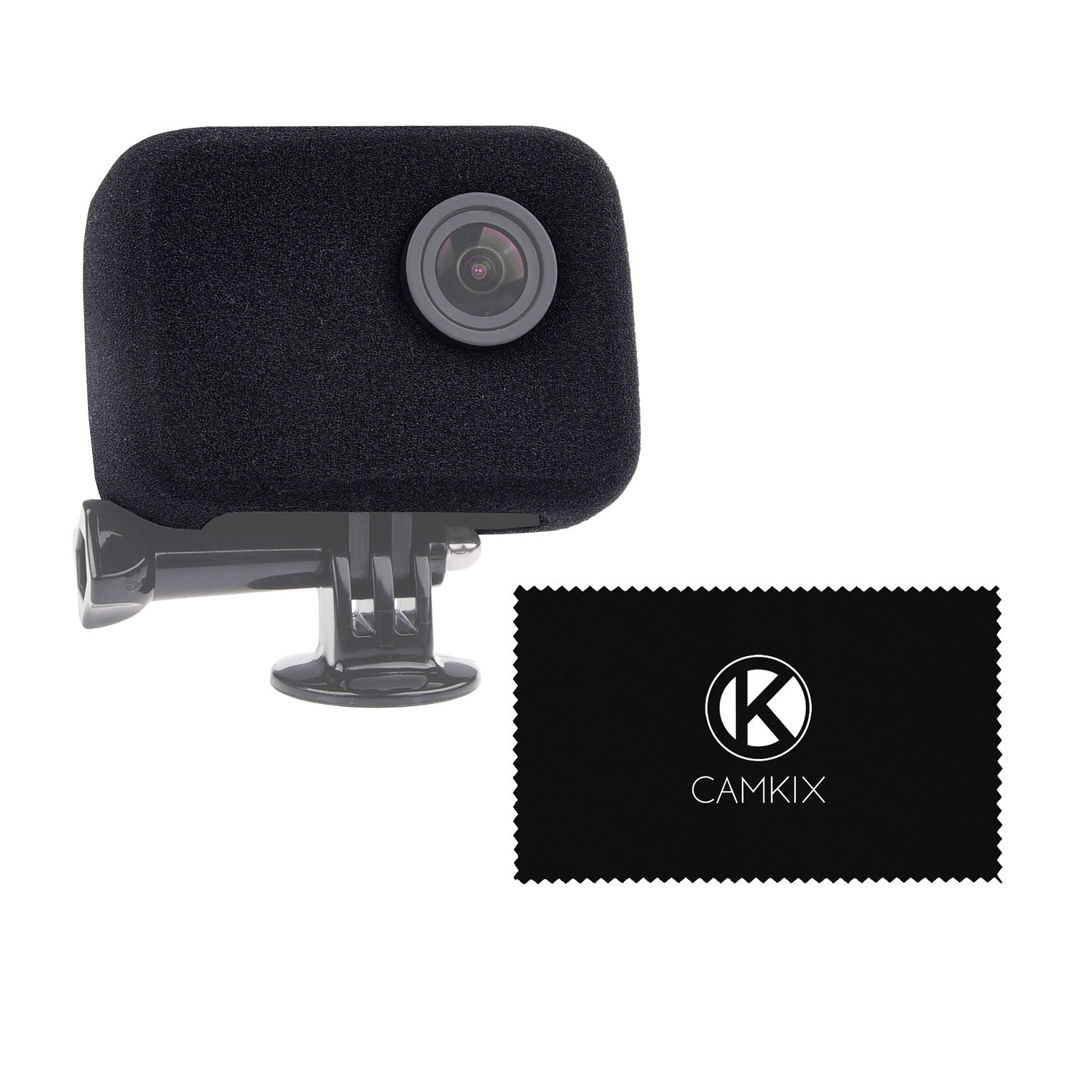 CamKix Windscreen replacement for GoPro Camera (Frame Mount and UV filter not included) - Reduces Wind Noise for Optimal Audio Recording - For GoPro HERO4, HERO3+ and HERO3 - Cleaning Cloth D0061-WSF-BLA