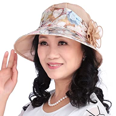 Lady sun visor Middle-aged womens hats in the summer Old MOM and ... fc207aef2b7