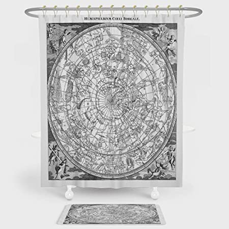 IPrint Constellation Shower Curtain Floor Mat Combination Set Detailed Vintage Boreal Hemisphere Astronomy Ancient Antique Figures