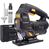Seghetto Alternativo, TECCPO800W Seghetto Elettrico con Guida Laser, 0-3000 Corse/min, 22mmCorsa Alternativa, Taglio da -45° a 45°, 6 Velocità, 6 Lame, per Tagliare Legno, Metallo e Plastica - TAJS01P