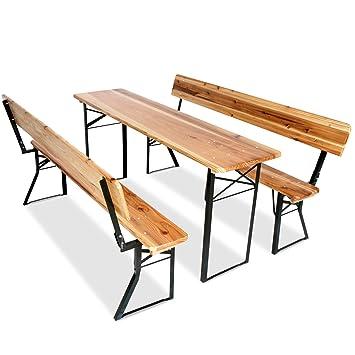 Miadomodo – Conjunto de mesa y bancos plegables para Bar, madera ...