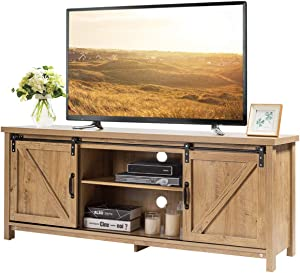 """Tangkula Wood TV Stand for 65"""" Television, TV Ark with Sliding Barn Doors, Wooden TV Cabinet with 2 Center Compartments and 2 Cabinets, Barn Door TV Stand, Natural Design (Natural Oak)"""