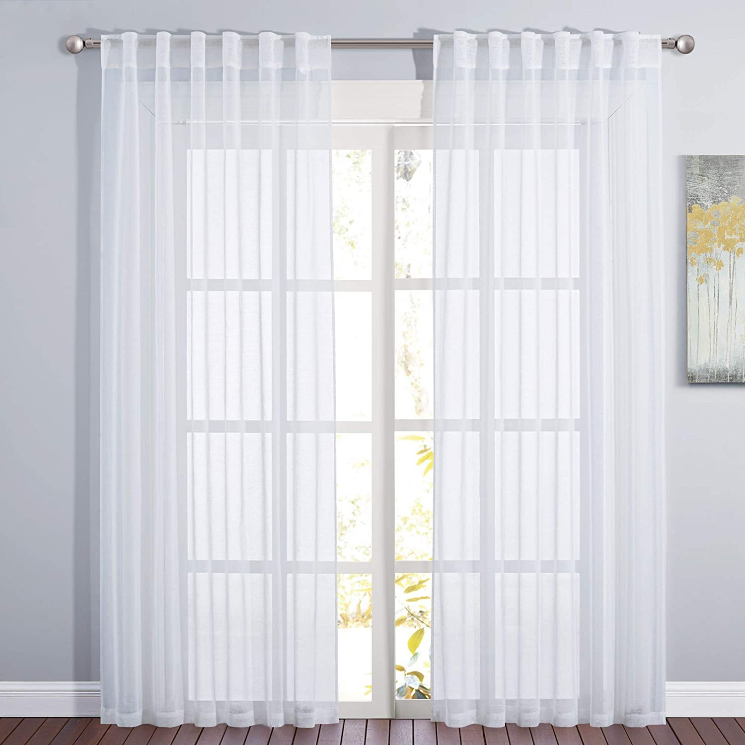 Amazon Com Pony Dance Window Curtains For Bedroom Linen Look White Natural Sheer Curtain Drapes Home Decor Elegant For Living Room 55 X 84 Inches 2 Panels Kitchen Dining