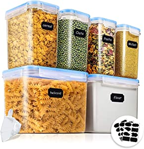 Airtight Food Storage Containers, Kitchen & Pantry Organization, Plastic Canisters with Durable Lids Ideal for Cereal, Flour & Sugar, 24 Labels, 1 Pen & 1 Measuring Cup