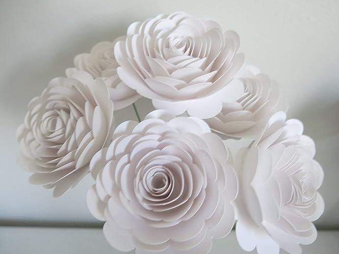 Amazon Pure White Roses On Stems 6 Paper Flower Picks 3