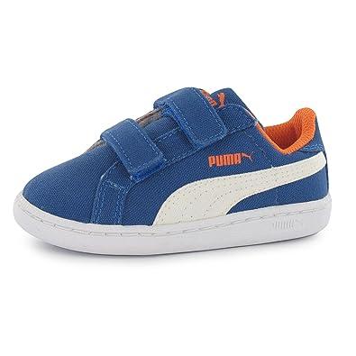 f7060e0617649 Puma Smash Fun Court Kinder Turnschuhe Canvas Klettverschluss Sneaker  Freizeit Blue White C4 (20)  Amazon.de  Schuhe   Handtaschen