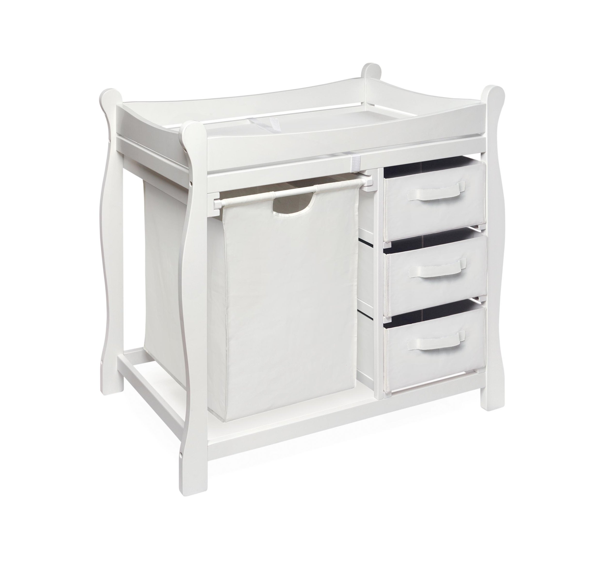 Badger Basket Sleigh Style Changing Table with Hamper/3 Baskets, White by Badger Basket