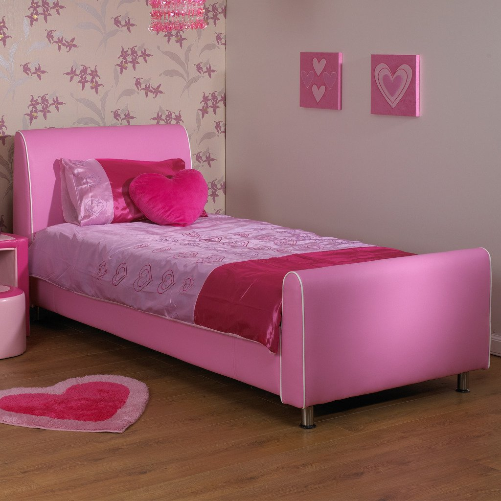 b43dbb464217 Joseph Pink Girls Metal Day Bed with Trundle Victorian Style 3FT ...