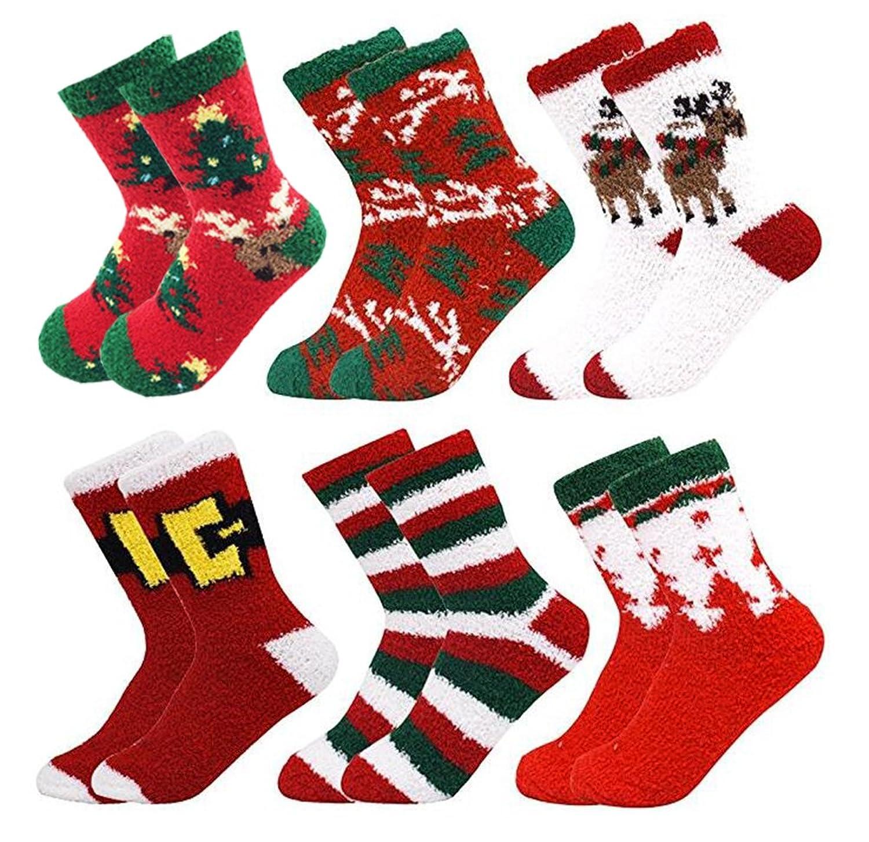 October Elf 6 Pack Women Christmas Socks Winter Warm Cozy Socks e