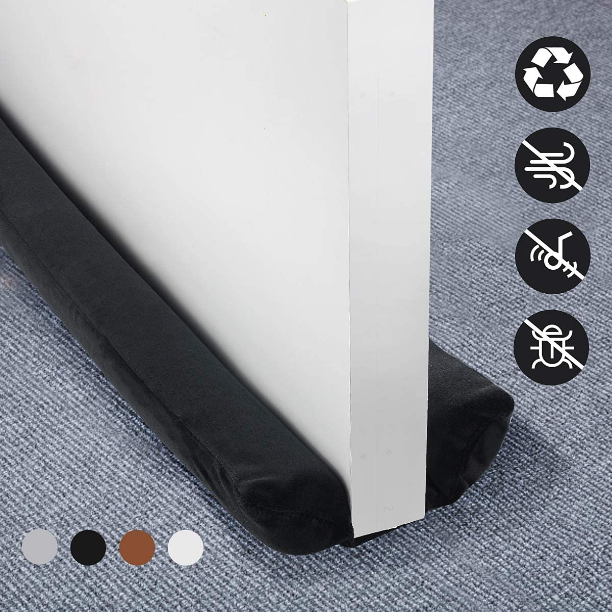 "Door Draft Stopper - Weather Stripping Noise Blocker Door Seal Strip, Adjustable 34"" to 36"" for Sound Dust Proof, Saving Energy Under Door Guard (Black)"