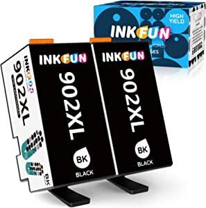 INKFUN Compatible Ink Cartridges Replacement for HP 902 XL 902XL Work with HP Officejet Pro 6950 6954 6958 6960 6962 6968 6970 6975 6978 6979 Printers 2 Packs 2 Black