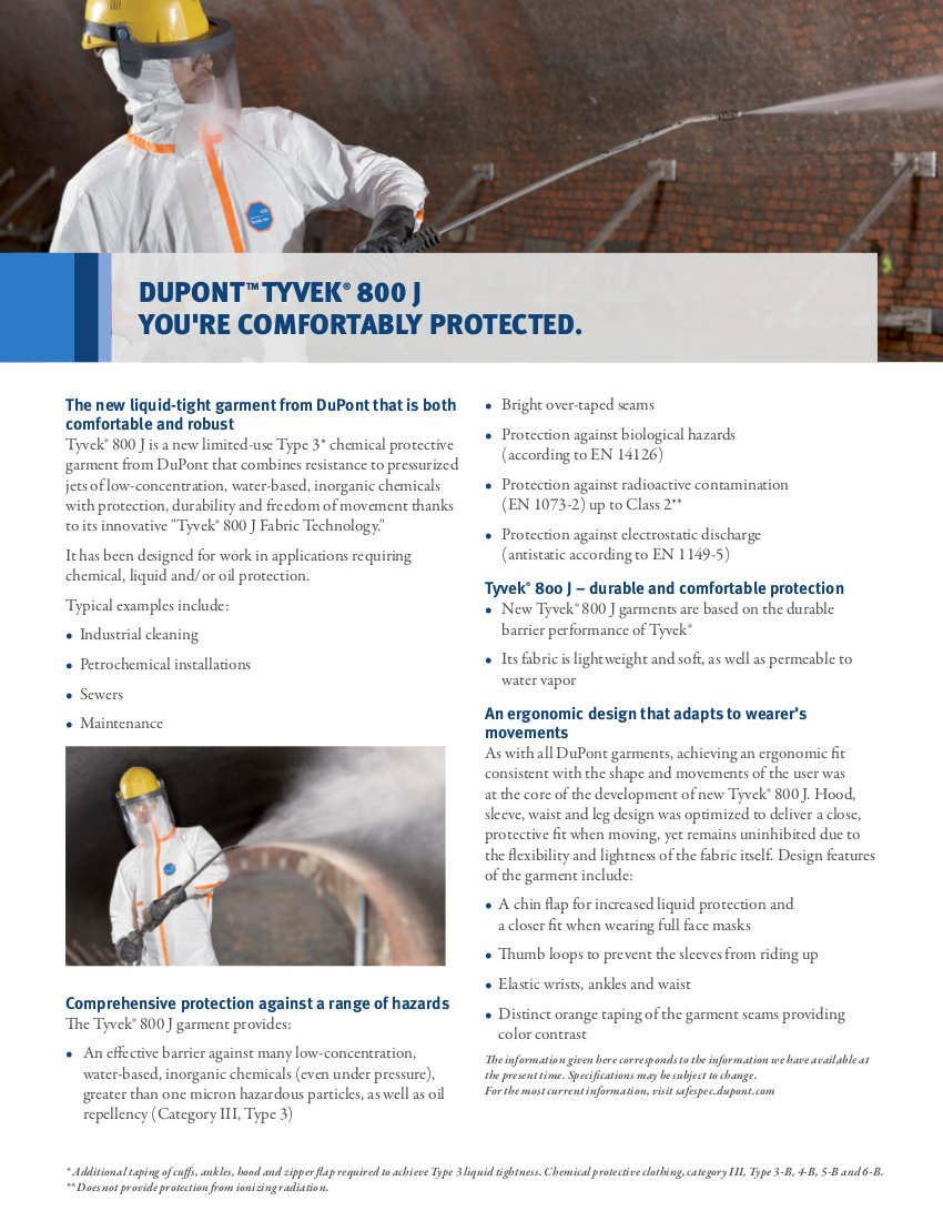 DuPont Tyvek 800J TJ198T Chemical Protective Coverall Suit, CE Certified, Cat III, Type 3/4/5/6, Sealed Bag, 4X-Large, White by DuPont (Image #3)