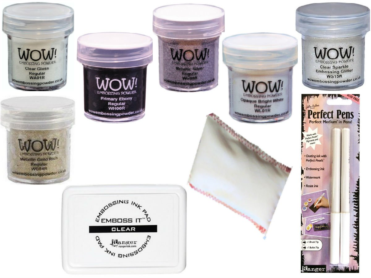 Embossing Starter Kit Bundle 9 Items - 6 Embossing Powders, 1 Bye Bye Static Pad, 1 Ranger Emboss It Foam Pad and Two Perfect Pens Fine and Brush Tips