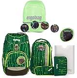 ergobag pack-Set Ranzenset 6-tlg. inkl. Regencape RambazamBär + Shiny Green