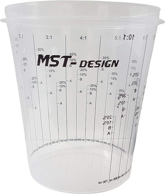 Mst Design 10 X Lackmischbecher 2300 Ml 2 3 L I Einwegmischbecher I Messbecher Mischbecher I Anmischen Von Farbe Und Lack I Becher Mit Skala I Lackieren Lack Lackierzubehör Auto