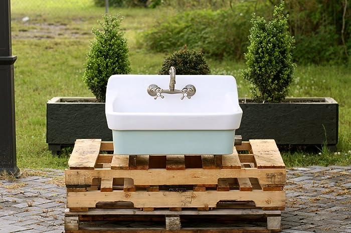 Amazing Vintage Style High Back Farm Sink Original Porcelain Finish Apron Kitchen  Utility Sink Green Blue Kitchen