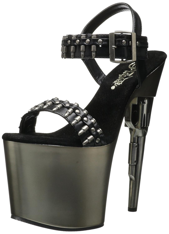 Pleaser Women's Bondgirl-712 Sandal B00362B4F4 12 B(M) US|Black Polyurethane/Pewter