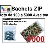 lot de 1000 Sachets 60 x 80 mm fermeture zip Transparent. Sachet fermeture zip 50u sac plastique 6x8 compatible alimentaire et congélation de marque UNIVERS GRAPHIQUE REF UGS03-1000 facture avec tva déductible